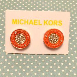MK orange round pave rose gold earrings